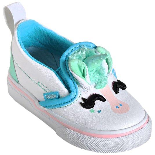 Tenis Vans Slip-On V Unicorn Infantil Branco/Azul Claro
