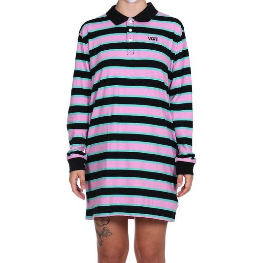 Vestido Vans Stripe Polo Preto/Rosa/Verde