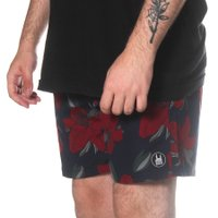 Bermuda Rock City Shorts Floral Clássico Azul/Vermelho