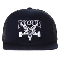 Boné Thrasher Magazine Trucker Skate Goat Azul Marinho