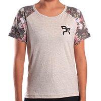 Camiseta Grow Raglan Floral Bege Claro