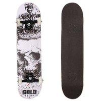 Skate Solo Montado Profissional Skullking Branco/Preto