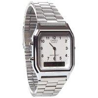 Relógio Casio Vintage Anadigi AQ-230A-7BMG Prata/Branco