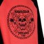 Camiseta HD Raglan Skull Salmão/Preto