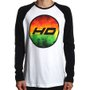 Camiseta HD Raglan Logo Circle Branco/Preto