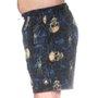 Bermuda Rock City Shorts Caveira E Flores Azul/Bege
