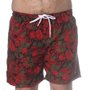 Bermuda Rock City Shorts Folhas Azul/Vermelho