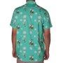 Camisa DropDead Flores Cobra Rosas Verde